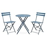 Alice's Garden - Salon de jardin bistrot pliable - Emilia rond bleu grisé - Table ronde Ø60cm avec deux chaises ...
