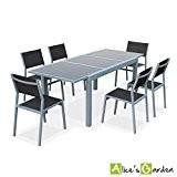 Alice's Garden - Salon de jardin table extensible - Alabama Blanc / Taupe - Table 150/210cm avec rallonge et 6 ...