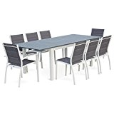 Alice's Garden - Salon de jardin table extensible - Chicago Gris foncé - Table 175/245cm avec rallonge et 8 assises ...