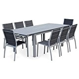 Alice's Garden - Salon de jardin table extensible - Chicago Gris - Table 175/245cm avec rallonge et 8 assises en ...