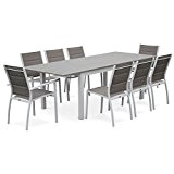 Alice's Garden - Salon de jardin table extensible - Chicago Taupe - Table 175/245cm avec rallonge et 8 assises en ...