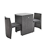 Alice's Garden - Table de jardin en résine tressée - Doppio - Gris, Coussins gris chiné - 2 places, salon ...