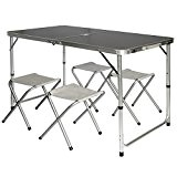 AMANKA Table de Camping Portable | Table + 4 Tabourets | Pliante en Mallette | Table de pique-nique | Réglable ...