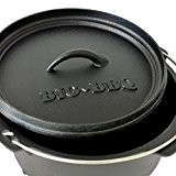 Big-BBQ DO 4.5 Dutch-Oven made of cast-iron | Pre-Seasoned 10' cast iron cooking pot | with lid lifter, lid stand ...