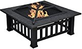 Centurion Supports GEDI Multi-Functional Black Square Outdoor Garden & Radiateurs Fire Pit Brazier