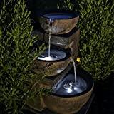 CLGarden NSP12 Fontaine solaire avec batterie et éclairage LED pour jardin, terrasse et balcon
