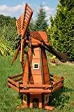 Deko-Shop-Hannusch Moulin à vent décoratif type moulin hollandais en bois enduit et à roulement à billes 1,2 m