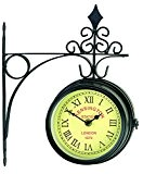 "Horloge de Gare ""Kensington Station London 1879"" - 14,50cm - Double Face - Métal Brossé - Support mural INCLUS - ..."