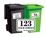 Personalised Printed Wheelie Bin Number Stickers with Road and Street Name - A6 Vinyl Waste Container Decals - set of ...