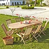 Salon de jardin en TECK BRUT QUALITE GRADE A 8/10 pers - Table ovale 180/240cm + 8 chaises