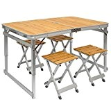 Table de Camping Portable | Table + 4 Tabourets | Pliante en Mallette | Table de pique-nique | Réglable en ...