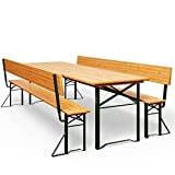 Table pliable et 2x bancs avec dossier - Salon de jardin meuble terrasse