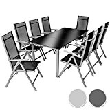 TecTake Aluminium 8+1 salon de jardin ensemble sièges meubles chaise table en verre - diverses couleurs au choix - (Gris ...