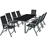 TecTake Aluminium 8+1 salon de jardin ensemble sièges meubles chaise table en verre gris foncé