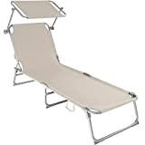 TecTake Chaise Longue Pliante Bain de Soleil avec Parasol Pare Soleil - diverses couleurs et quantités au choix - (2x ...