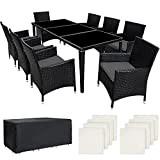 TecTake Salon de jardin en aluminium résine tressée poly rotin table + 8 fauteuils + Deux set de housses + ...